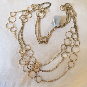Anthropologie LYDELL NYC gold round 3tier necklace